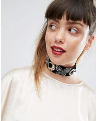 ASOS - Black Statement Wide Embellished Velvet Choker Necklace - Lyst