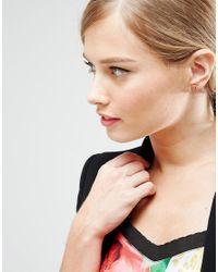 Ted Baker - Multicolor Rose Gold Enamel Logo Button Stud Earrings - Lyst