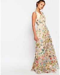 True Decadence - Metallic All Over Embroidered Floral Maxi Dress - Lyst