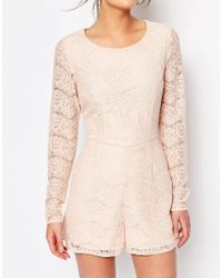 New Look Natural Eyelash Lace Playsuit - Nude
