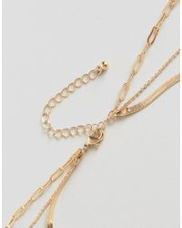 ASOS - Metallic Disc Pendant And Vintage Style Chains Multirow Necklace - Lyst