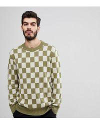 Nudie Jeans Green Co Elof Checkerboard Jumper for men