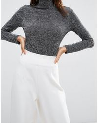 ASOS - White Super High Waist Pant With Wide Leg - Lyst