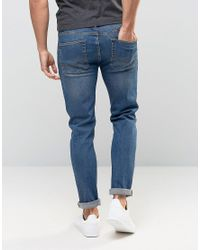 ASOS Blue Stretch Slim Jeans In Mid Wash for men