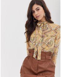Vila Multicolor Paisley Blouse With Tie Neck Detail