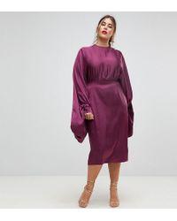 8e3317123b69cd ASOS Extreme Sleeve Satin Midi Pencil Dress in Purple - Lyst