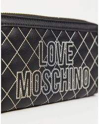 Monedero acolchado negro con costuras a contraste Love Moschino de color Black