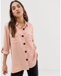 Camicia giacca con tasche rosa di River Island in Pink