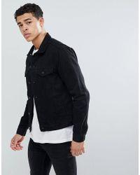 New Look Regular Fit Denim Jacket In Black Wash for men