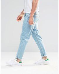 ASOS Blue Tapered Jeans In Light Wash for men