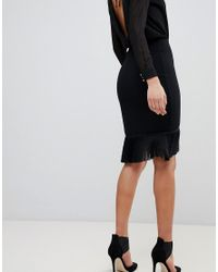 Flounce London Black Wrap Front Skirt With Fringing