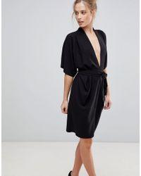 ASOS Black Asos Obi Wrap Midi Dress With Kimono Sleeves
