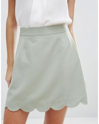 ASOS | Green A-line Mini Skirt With Scallop Hem | Lyst