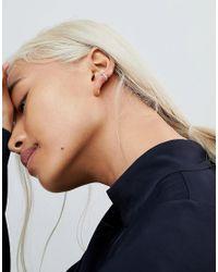 ASOS - Metallic Sterling Silver Faceted Hoop Earrings - Lyst