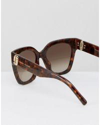 Marc Jacobs Brown Logo Cat Eye Sunglasses In Tort
