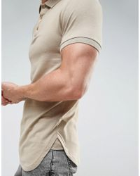ASOS Natural Longline Muscle Polo With Curved Hem In Jersey In Biege for men