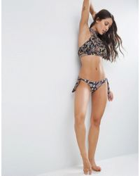 ASOS Multicolor Paisley Print Glam Halter Bikini Top