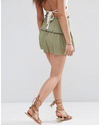 ASOS - Green Tiered Ruffle Flutter Shorts - Lyst