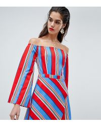 Missguided White Stripe Bardot Skort Playsuit