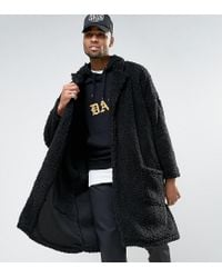 ASOS Tall Oversized Borg Duster Coat In Black for men