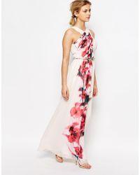 Little Mistress - Multicolor Cross Front Floral Placement Maxi Dress - Lyst