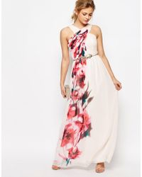 Little Mistress - Multicolor Cross Front Floral Placement Maxi Dress - Lyst