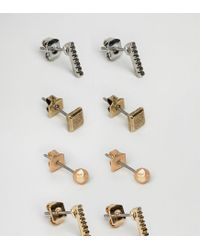 Icon Brand - Metallic Gold & Silver Stud Earrings In 4 Pack - Lyst