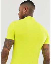 T-shirt col montant moulant en jersey - fluo ASOS pour homme en coloris Green