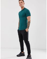 Polo moulant en jersey ASOS pour homme en coloris Green