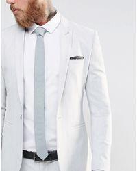 ASOS - Tie In Light Blue In Linen Mix - Blue for Men - Lyst