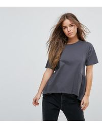 ASOS Black T-shirt With Paneled Smock Hem