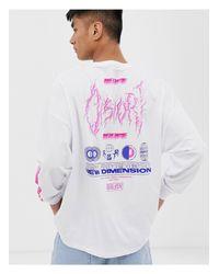 T-shirt décontracté à manches longues imprimé dans le dos et sur la manche ASOS pour homme en coloris White