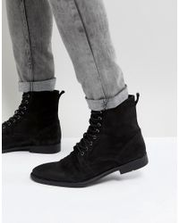 ASOS Asos Lace Up Boots In Black Leather With Distressed Sole for men