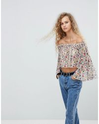 Love - Multicolor Printed Mesh Bardot Top - Lyst