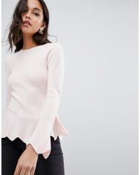 Ted Baker - Pink Bobbe Peplum Knitted Sweater - Lyst