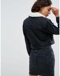 Черная Джинсовая Куртка С Искусственным Мехом -черный ASOS, цвет: Black