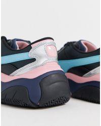 Черные Кроссовки С Розовыми Вставками И Эффектом Металлик Storm.y PUMA, цвет: Blue