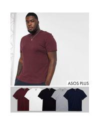 Plus - Confezione da 5 T-shirt girocollo di ASOS in Red da Uomo