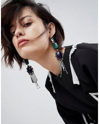 ASOS - Multicolor Asos Statement Acrylic And Jewel Stick Earrings - Lyst