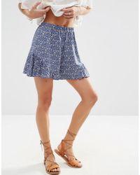 ASOS Blue Paisely Ruffle Hem Shorts
