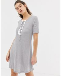 Glamorous Gray Lace Up Front T-shirt Dress