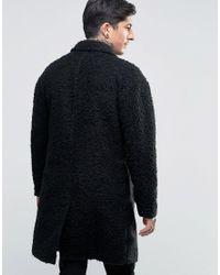 Another Influence Black Overcoat Jacket for men
