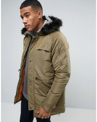Another Influence | Green Hooded Parka Jacket With Faux Fur Hood for Men | Lyst