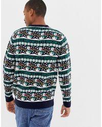 Threadbare – Let it Snow – Weihnachtlicher Strickpullover in Blue für Herren