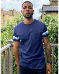Threadbare Blue Pocket T-shirt With Contrast Stripe Sleeve for men