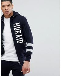 Antony Morato Blue Hoodie In Navy With Stripe Sleeve for men