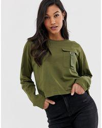 Camiseta con bolsillo utilitario y manga larga ASOS de color Green