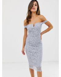 Облегающее Платье С Широким Вырезом И Кружевной Отделкой -серебряный AX Paris, цвет: Blue