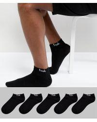 French Connection Black 5 Pack Trainer Socks for men