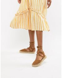 South Beach Brown Tan Ankle Tie Espadrilles